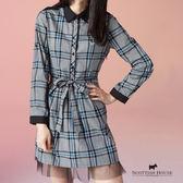 Scottish House 下擺蕾絲X腰間綁帶格紋洋裝 X3105