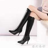 秋冬新款長靴女高跟尖頭馬丁靴時尚性感細跟高筒靴顯瘦彈力靴44 夢幻衣都