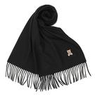 MOSCHINO 義大利製羊毛小熊圖騰字母LOGO刺繡圍巾(黑色)911001-016