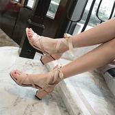 高跟涼鞋涼鞋女鞋高跟鞋粗跟綁帶2020夏季新款韓版一字扣帶圓頭中跟羅馬鞋 非凡小鋪