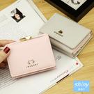 【P181】shiny藍格子-小巧異想.可愛造型折疊短款小錢包