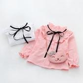 長袖T恤—女童長袖襯衫秋季新款女寶寶百搭綁帶木耳邊襯衣兒童立領上衣