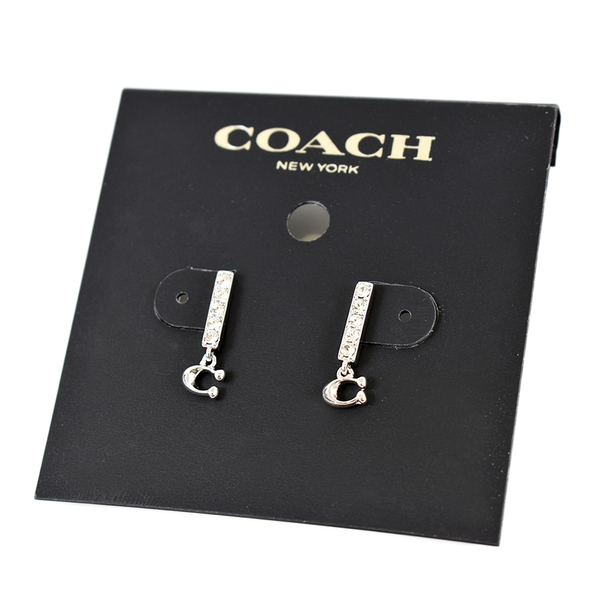 美國正品 COACH 直排水鑽C字耳環-銀色【現貨】