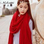 春秋夏民族風純色棉麻圍巾披肩兩用女超大長款百搭防曬絲巾