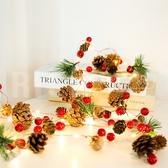 一組兩入 LED聖誕銅線燈松果松針鈴鐺紅果裝飾燈串電池盒聖誕藤條彩燈串