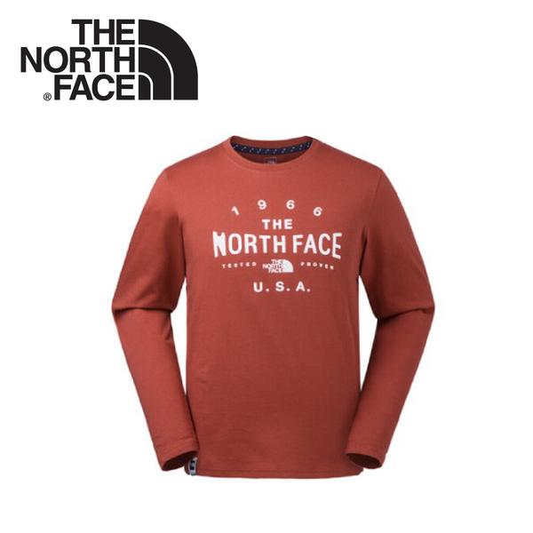 【The North Face 男 長袖排汗衣《紅》】3CIA/圓領T恤/機能長袖/運動長袖