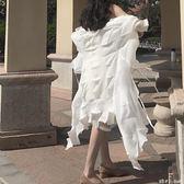 復古韓國chic風不規則褶皺超仙純白度假開衫外套夏季雪紡防曬衫女 「潔思米」