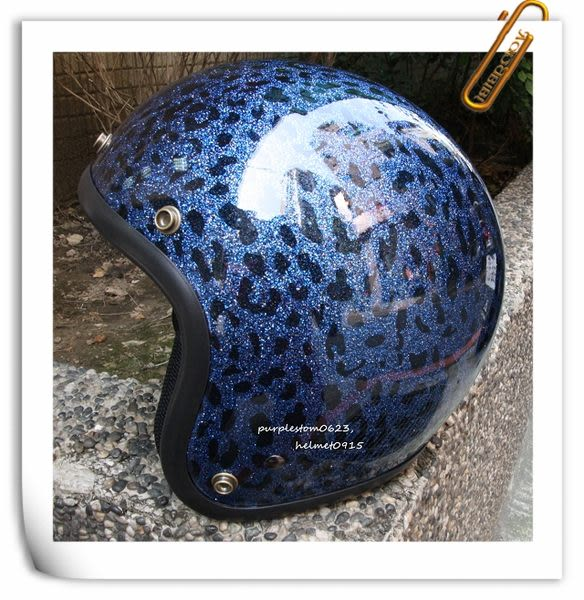 林森●金蔥復古帽,半罩,3/4帽,812,礦石豹紋,藍~