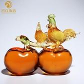 琉璃事事如意柿子擺件客廳家居工藝品裝飾品水晶小公雞玻璃藝術品