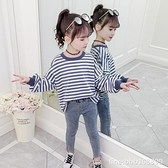 女童长袖睡衣 女童T恤新款春秋裝中大童長袖體恤兒童韓版冬裝加絨寬鬆上衣 瑪麗蘇