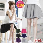 BOBO小中大尺碼【398】寬版鬆緊口袋短褲裙-S-6L-共6色
