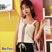 藍色巴黎~韩版吊帶一字領露肩配色拉鍊針織上衣短版背心~2 色~~28570 ~