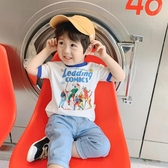 男童短袖T恤 夏裝新款童裝男寶寶撞色圓領體恤兒童上衣夏