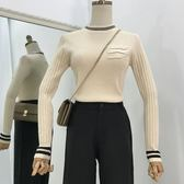 新款時尚韓版簡約修身口袋針織上衣女