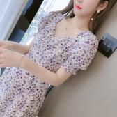 [促銷全場八五折]年夏季新款紫色碎花雪紡短袖連衣裙女夏天小個子氣質仙女氣質