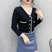 V領撞色小香風針織開衫外套上衣女設計感小眾春秋款9867T316A紅粉佳人
