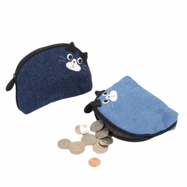 短尾貓牛仔收納袋/化妝包/拼布包包