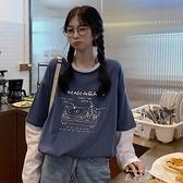 日系古著假兩件長袖t恤女2021韓版寬鬆ins潮原宿風鹽系早秋上衣服