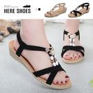[Here Shoes]涼拖鞋-布面交叉鞋面 伸縮套腳 跟高4CM 度假風 楔型涼鞋 交叉涼鞋-AN122