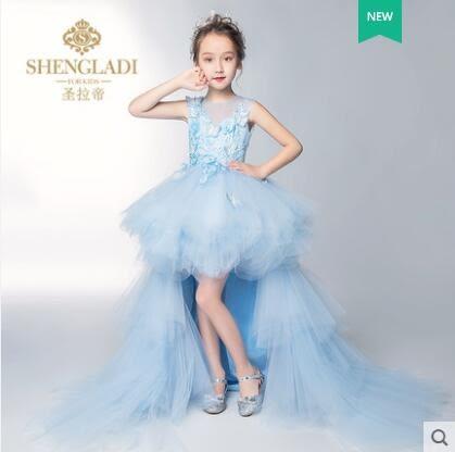 兒童禮服公主裙女童花仙子拖尾模特走秀晚禮服