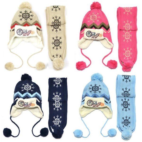 *甜蜜蜜親子童裝*百搭((雪花加絨款)) 護耳保暖帽+圍巾二件組