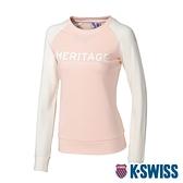 K-SWISS Raglan Sweatshirt圓領長袖上衣-女-粉紅
