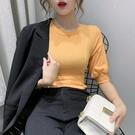 2020夏季新款泡泡袖上衣設計感小眾修身素色純棉短袖t恤女裝ins潮 交換禮物