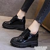 小皮鞋女英倫風鞋子2020新款百搭高跟厚底內增高黑色秋鞋單鞋  聖誕節免運