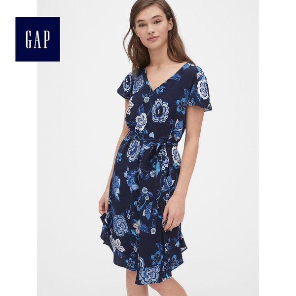 Gap女裝 繁花圖案V領襯衫式洋裝 493758-海軍藍花紋