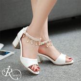 【快速出貨】歐美時尚亮麗水鑽吊飾露趾高跟涼鞋/3色/35-43碼 (RX0551-616) iRurus 路絲時尚