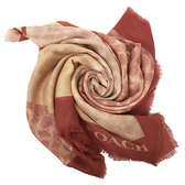 【COACH】經典C LOGO莫代爾絲巾圍巾(楓葉紅配色)