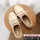 小皮鞋女 潮新款復古英倫繫帶圓頭小皮鞋女中跟單鞋 快速出貨