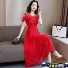 紫色短袖網紗連身裙女夏長裙2020新款收腰顯瘦大擺氣質長款蕾絲洋裝裙 8號店