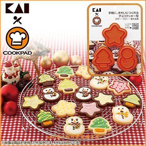 asdfkitty可愛家☆貝印 COOKPAD 3入餅乾壓模型-聖誕節星星.樹.雪人-可放餡-日本製