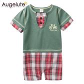 短袖連身衣 假兩件 V領 格紋 男寶寶 爬服 哈衣 Augelute Baby 42182