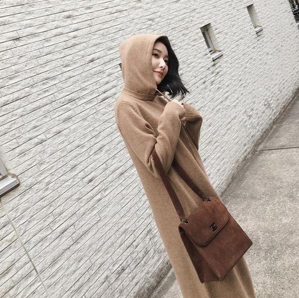 8折免運 長袖洋裝 外套毛衣秋冬針織衫洋裝連帽中長版寬鬆慵懶風毛衣裙女