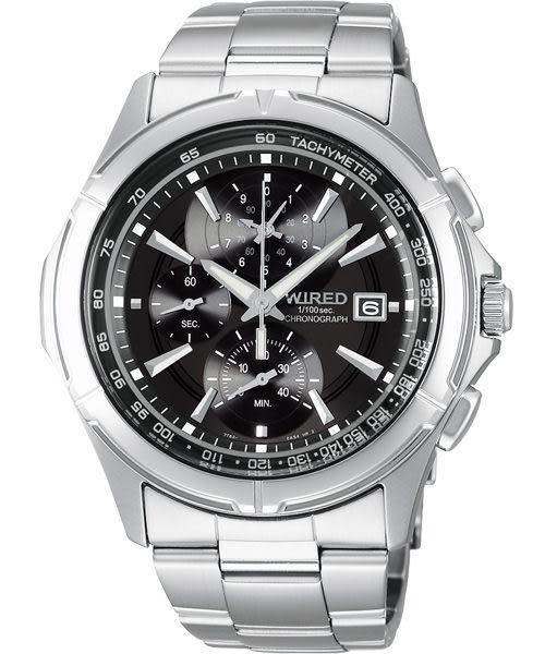 WIRED 極限玩家三眼計時手錶-黑 7T82-X002D