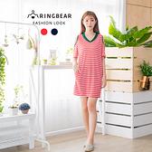 休閒洋裝--時尚不敗經典條紋撞色V領挖肩五分袖連身裙(紅.藍XL-3L)-D437眼圈熊中大尺碼
