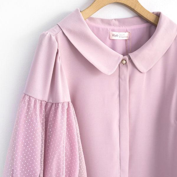 早春下殺↘5折[H2O]袖子剪接點點網布復古大圓領雪紡上衣 - 深藍/白/粉色 #9675020