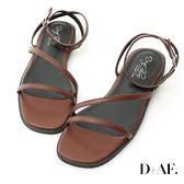 涼鞋 D+AF 完美品味.一字斜帶繫踝平底涼鞋*棕