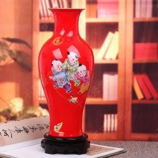 景德鎮陶瓷器 紅魚尾瓶