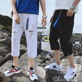 夏季破洞牛仔短褲男士修身窄管乞丐寬鬆薄款