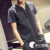 2018夏季新款V領亞麻短袖T恤上衣男士加肥大碼白色衣服韓版潮男裝-奇幻樂園