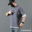 夏季潮流短袖T恤男寬鬆加肥加大碼胖子五分袖假兩件半袖上衣 EY11377『3C環球數位館』