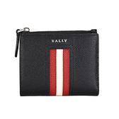 BALLY TUNNER 黑色防刮皮革紅白條紋男對折拉鍊短夾(黑色)