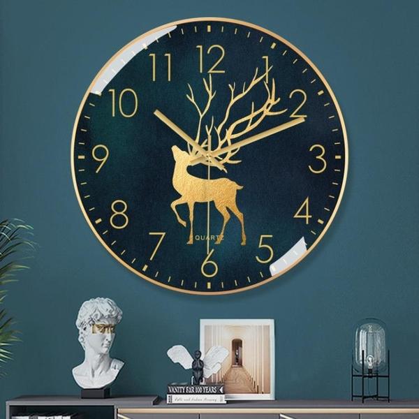 金屬北歐掛鐘客廳家用時鐘創意靜音時尚輕奢掛墻現代大氣石英鐘錶 酷男精品館