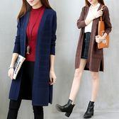 秋裝新款韓版學生時尚百搭針織開衫中長款長袖毛衣外套秋冬女