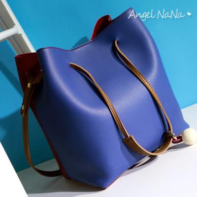 高品質熱賣側背包-韓雙色二件式子母包女水桶包斜背包 (SBA0220) AngelNaNa