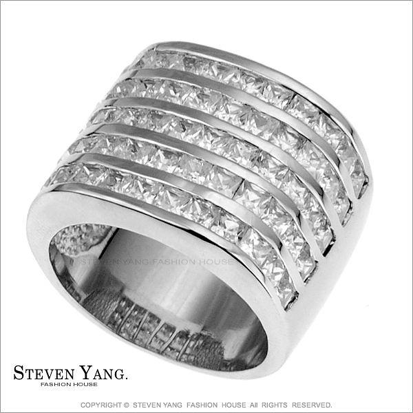 戒指 正白K飾「奢華滿鑽」半寶方晶鋯石 名媛淑女款 百貨專櫃品