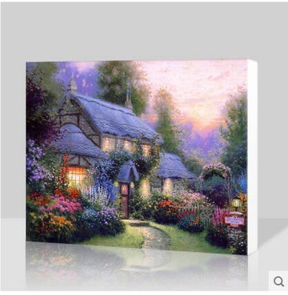 美式鄉村風景油畫客廳裝飾畫無框畫單幅沙發背景牆無框畫掛畫AA
